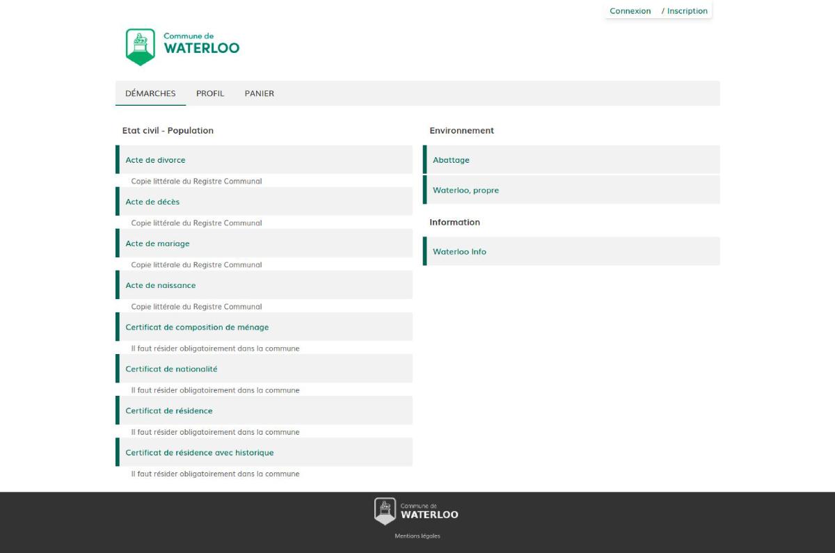 E-guichet de la commune de Waterloo